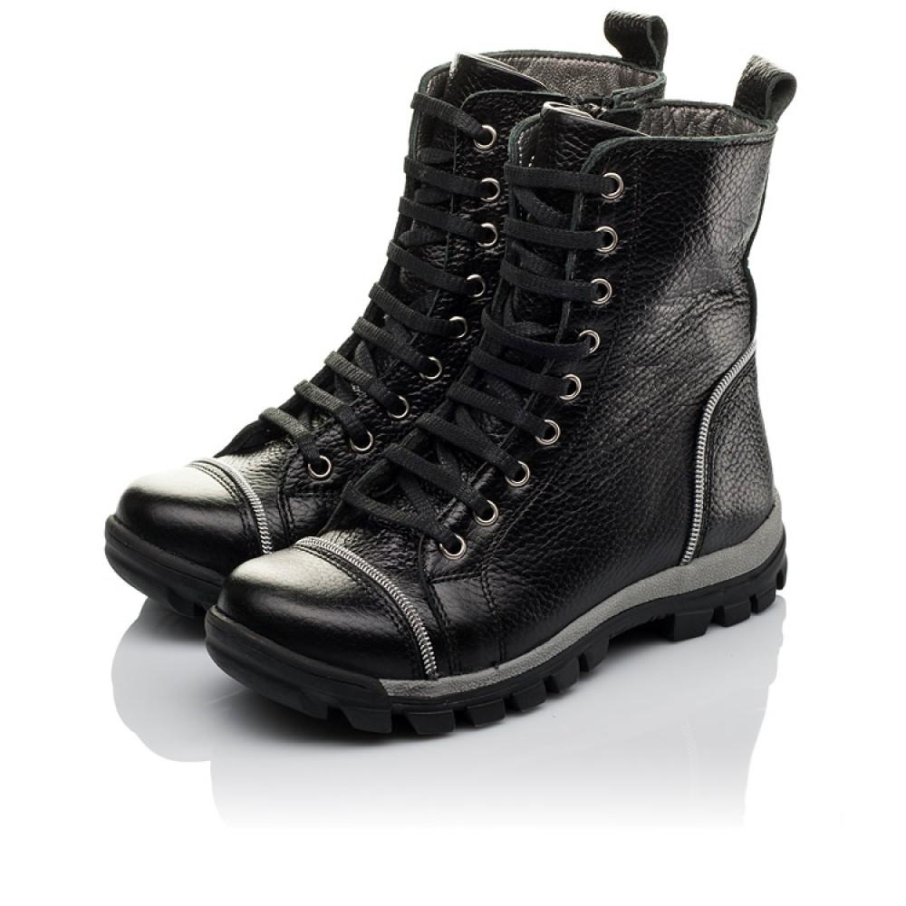 Детские демисезонные ботинки Woopy Orthopedic черный для девочек натуральная кожа размер 31-36 (3759) Фото 3