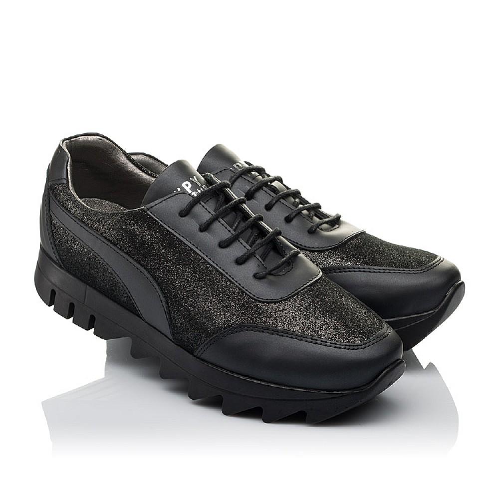 Детские кроссовки (шнурок резинка) Woopy Orthopedic черные для девочек натуральная кожа размер 36-40 (3760) Фото 1
