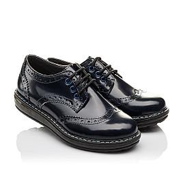 Детские туфли (шнурок-резинка) Woopy Orthopedic синие для девочек матовый лак размер 31-36 (3763) Фото 1