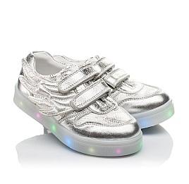 Детские кроссовки Woopy Orthopedic серебряные для девочек натуральная кожа размер 21-29 (3766) Фото 1
