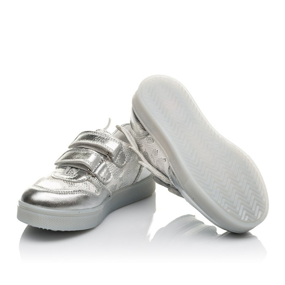 Детские кеды Woopy Orthopedic серебряные для девочек натуральная кожа размер 21-30 (3766) Фото 2