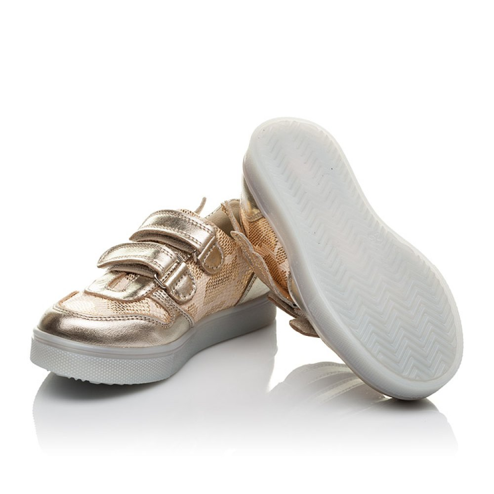 Детские кеды Woopy Orthopedic золотые для девочек натуральная кожа, текстиль размер 21-30 (3768) Фото 3