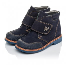Детские демисезонные ботинки Woopy Orthopedic темно-синие для мальчиков натуральный нубук размер 23-32 (3781) Фото 3