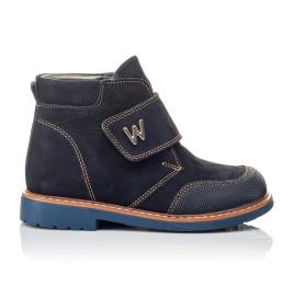 Детские демисезонные ботинки Woopy Orthopedic темно-синие для мальчиков натуральный нубук размер 23-32 (3781) Фото 4