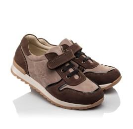 Детские кроссовки Woopy Orthopedic бежевые, коричневые для мальчиков натуральный нубук размер 33-40 (3782) Фото 1