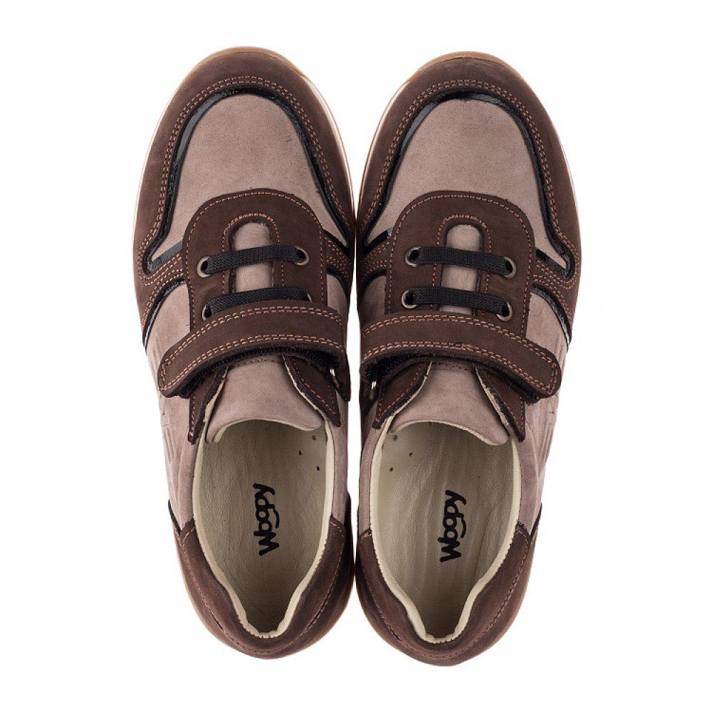 Детские кроссовки Woopy Orthopedic бежевые, коричневые для мальчиков натуральный нубук размер 33-40 (3782) Фото 5