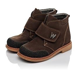 Детские демисезонные ботинки Woopy Orthopedic коричневые для мальчиков натуральный нубук размер 19-21 (3784) Фото 3