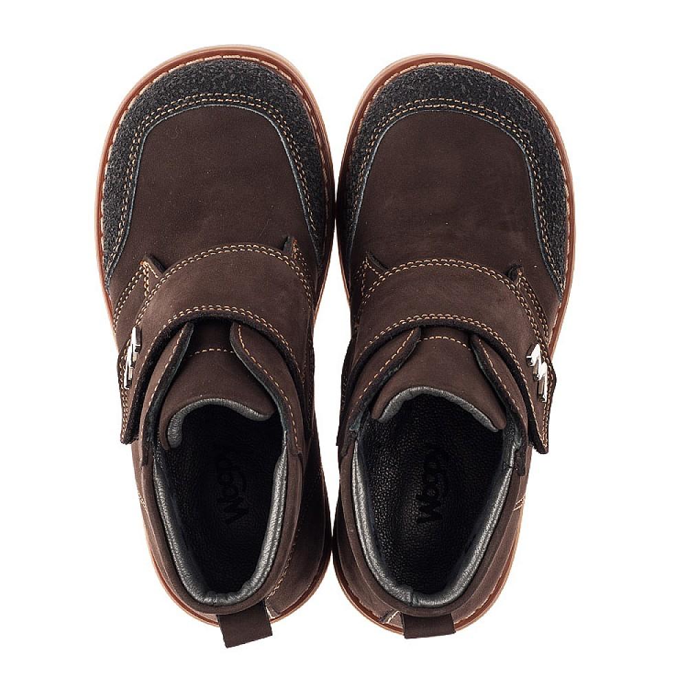 Детские демисезонные ботинки Woopy Orthopedic коричневые для мальчиков натуральный нубук размер 19-30 (3784) Фото 5