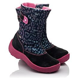Детские термосапожки Floare темно-синие, розовые для девочек замша, текстиль размер 27-27 (3802) Фото 1