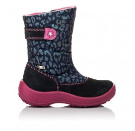 Детские термосапожки Floare темно-синие, розовые для девочек замша, текстиль размер 27-27 (3802) Фото 4