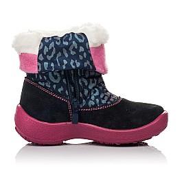 Детские термосапожки Floare темно-синие, розовые для девочек замша, текстиль размер 27-27 (3802) Фото 5