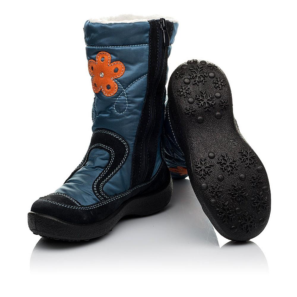 Детские термосапожки Floare синие для девочек замша, текстиль размер 30-35 (3804) Фото 2