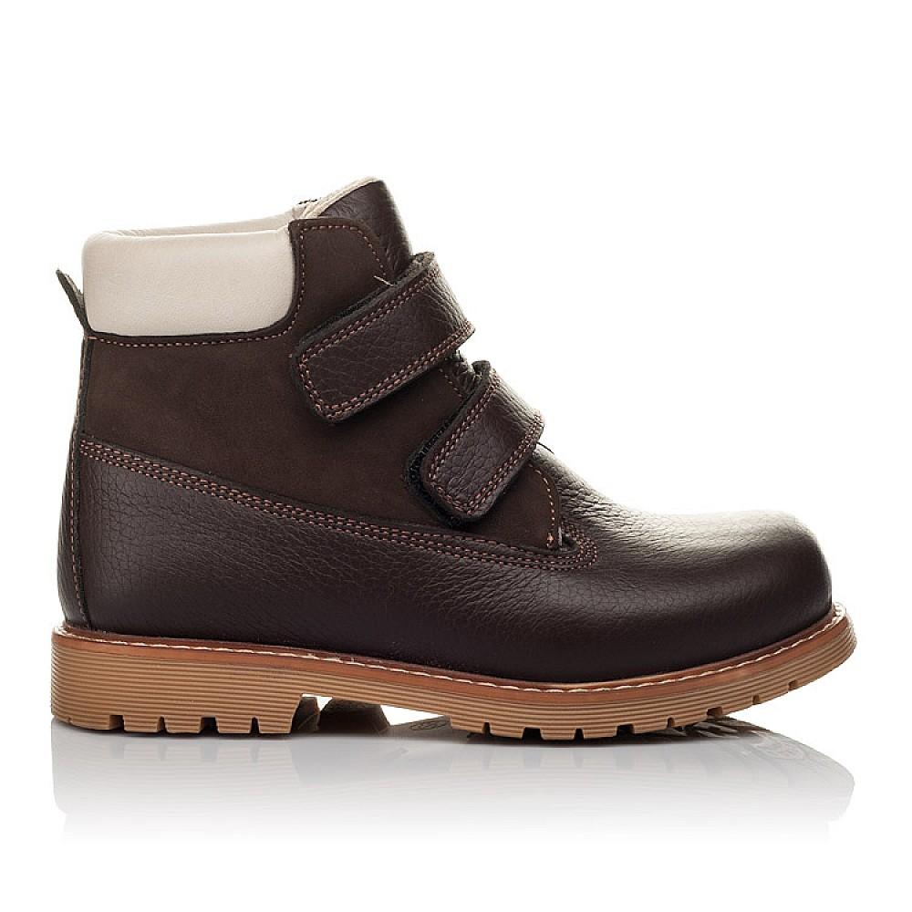 Детские демисезонные ботинки Woopy Orthopedic коричневые для мальчиков натуральный нубук размер 24-34 (3809) Фото 4