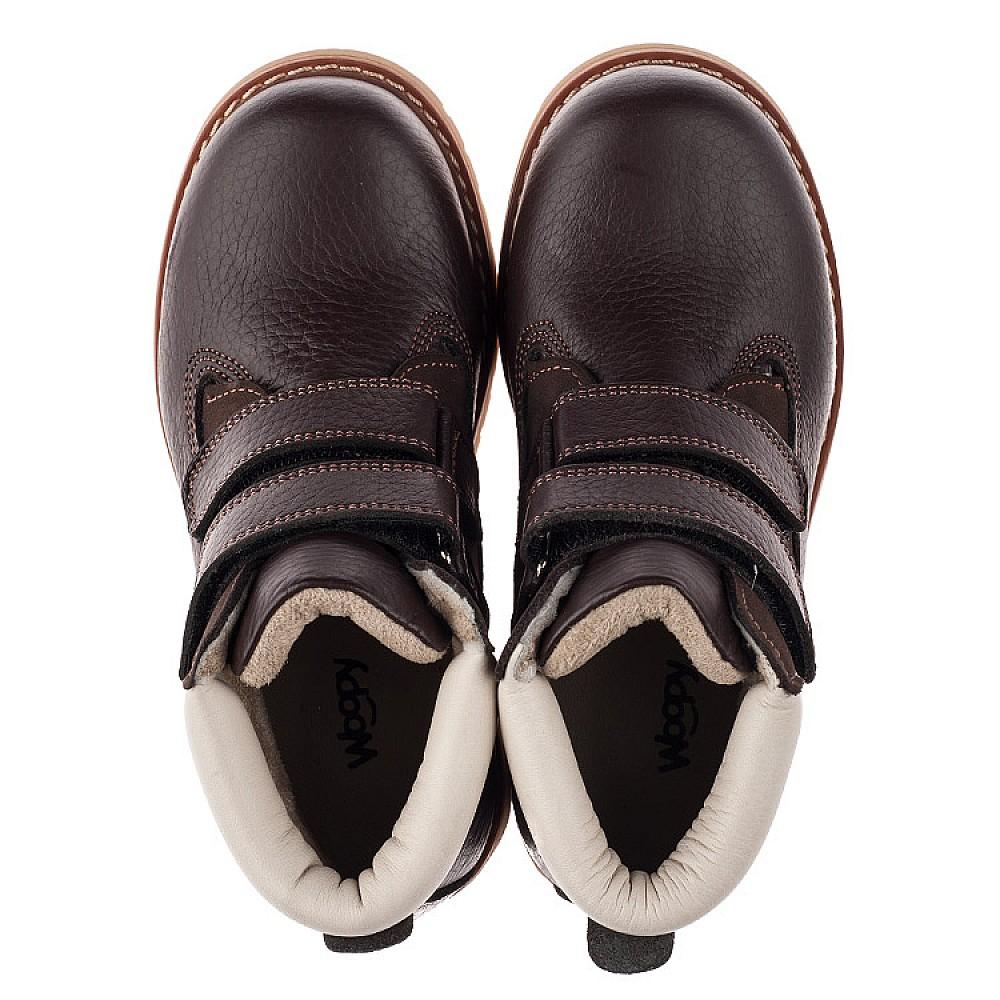 Детские демисезонные ботинки Woopy Orthopedic коричневые для мальчиков натуральный нубук размер 24-34 (3809) Фото 5