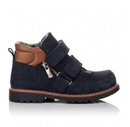 Детские демисезонные ботинки Woopy Orthopedic темно-синие для мальчиков натуральный нубук размер 25-33 (3810) Фото 4