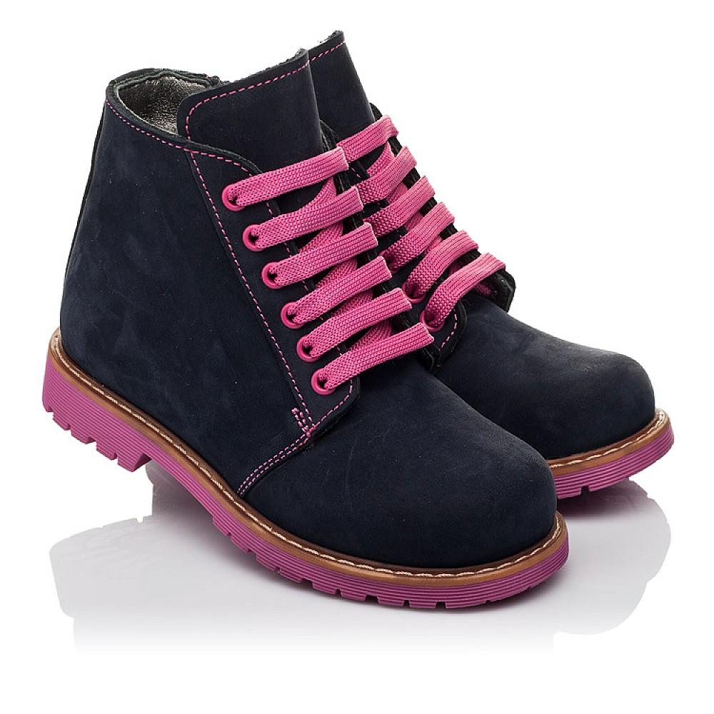 Детские демисезонные ботинки Woopy Orthopedic темно-синие для девочек натуральный нубук размер 23-33 (3812) Фото 1
