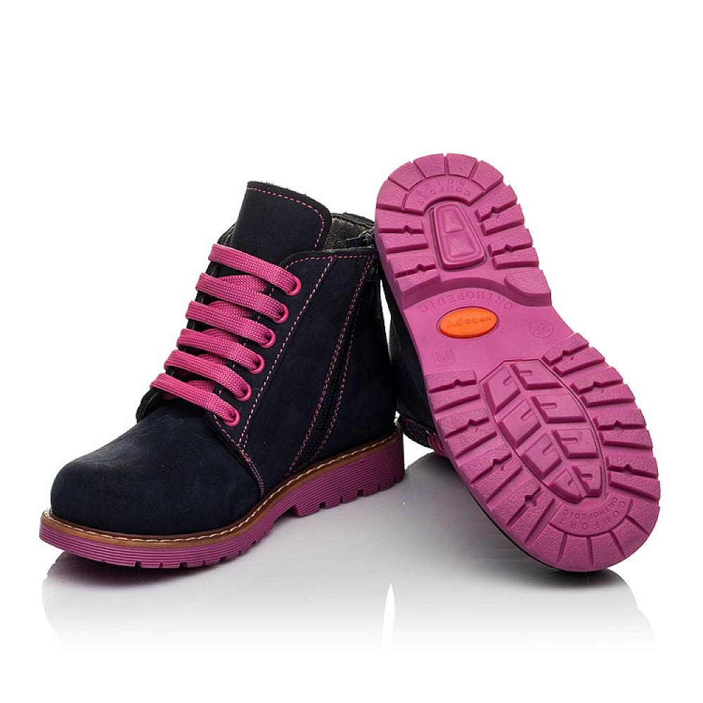 Детские демисезонные ботинки Woopy Orthopedic темно-синие для девочек натуральный нубук размер 23-33 (3812) Фото 2