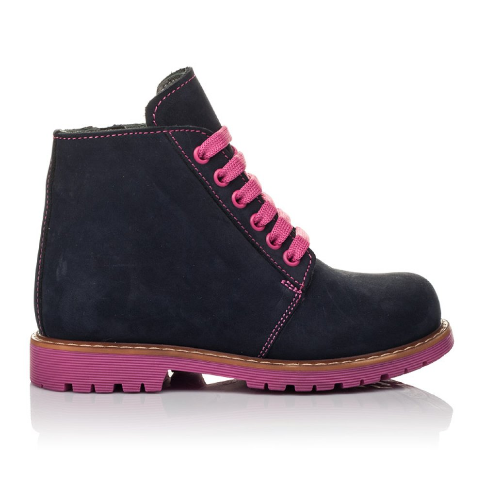 Детские демисезонные ботинки Woopy Orthopedic темно-синие для девочек натуральный нубук размер 23-33 (3812) Фото 4