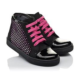 Детские демисезонные ботинки Woopy Orthopedic черные для девочек натуральный нубук, лаковая кожа размер 21-29 (3813) Фото 1