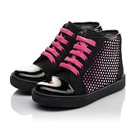 Детские демисезонные ботинки Woopy Orthopedic черные для девочек натуральный нубук, лаковая кожа размер 21-29 (3813) Фото 3