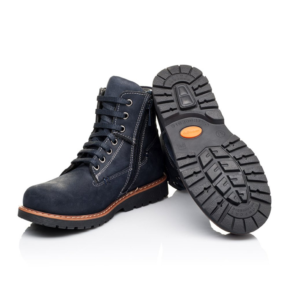 Детские демисезонные ботинки Woopy Orthopedic темно-синие для девочек натуральный нубук размер 30-40 (3815) Фото 2