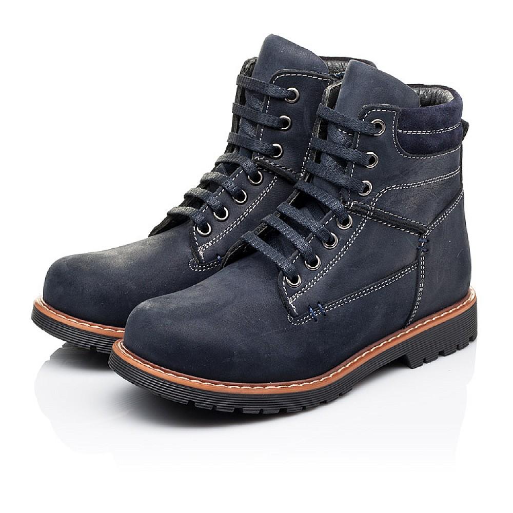 Детские демисезонные ботинки Woopy Orthopedic темно-синие для девочек натуральный нубук размер 30-40 (3815) Фото 3