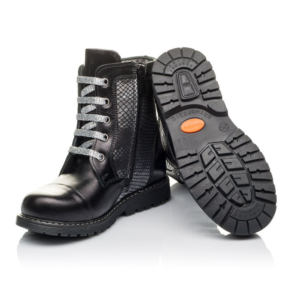 Детские демисезонные ботинки Woopy Orthopedic черные, серебряные для девочек натуральная кожа размер 26-36 (3816) Фото 2