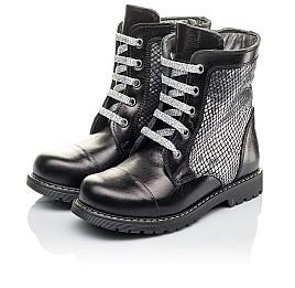 Детские демисезонные ботинки Woopy Orthopedic черные, серебряные для девочек натуральная кожа размер 26-36 (3816) Фото 3