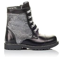 Детские демисезонные ботинки Woopy Orthopedic черные, серебряные для девочек натуральная кожа размер 26-36 (3816) Фото 4