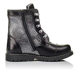 Детские демисезонные ботинки Woopy Orthopedic черные, серебряные для девочек натуральная кожа размер 26-36 (3816) Фото 5