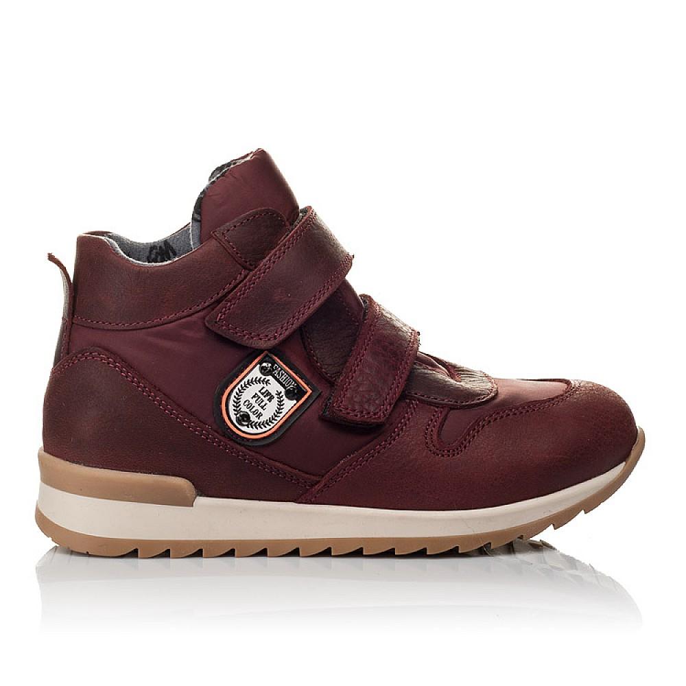 Детские демисезонные ботинки Woopy Orthopedic бордовые для девочек натуральная кожа, текстиль размер 27-35 (3817) Фото 3