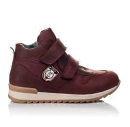 Детские демисезонные ботинки Woopy Orthopedic бордовые для девочек натуральная кожа, текстиль размер 27-34 (3817) Фото 3
