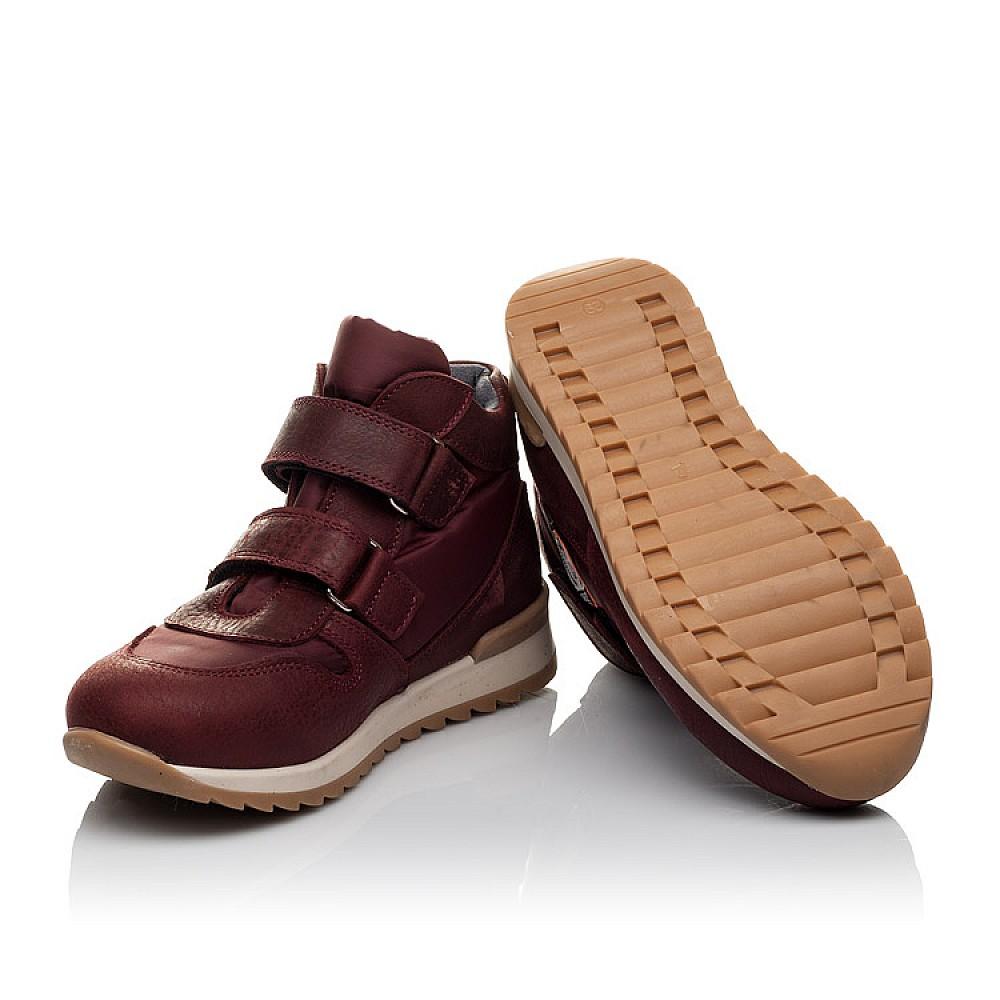 Детские демисезонные ботинки Woopy Orthopedic бордовые для девочек натуральная кожа, текстиль размер 27-35 (3817) Фото 5