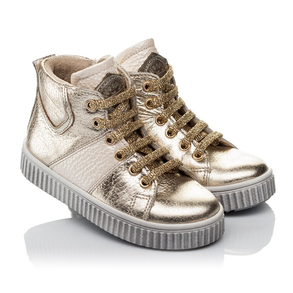 Детские демисезонные ботинки Woopy Orthopedic золотые для девочек натуральная кожа размер 21-36 (3819) Фото 1