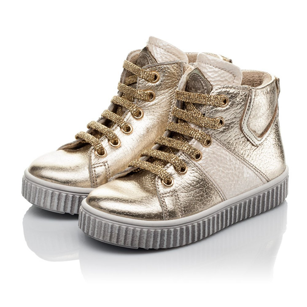 Детские демисезонные ботинки Woopy Orthopedic золотые для девочек натуральная кожа размер 21-36 (3819) Фото 3