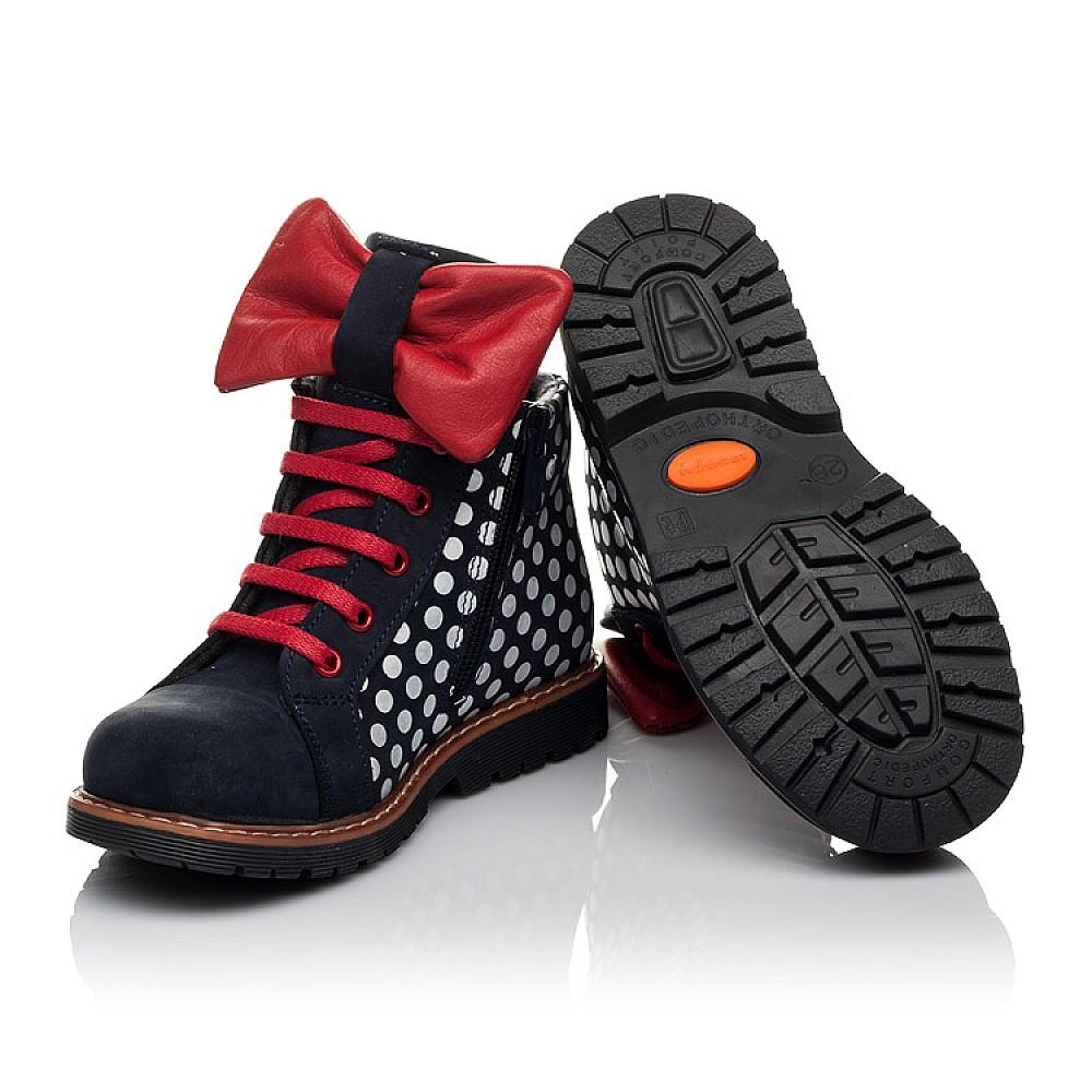 Детские демисезонные ботинки Woopy Orthopedic темно-синие для девочек натуральный нубук размер 19-30 (3825) Фото 2