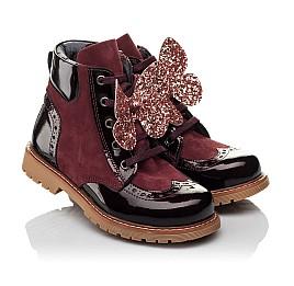 Детские демисезонные ботинки Woopy Orthopedic бордовые для девочек натуральный нубук, лаковая кожа размер 26-36 (3840) Фото 1