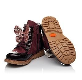 Детские демисезонные ботинки Woopy Orthopedic бордовые для девочек натуральный нубук, лаковая кожа размер 26-36 (3840) Фото 2