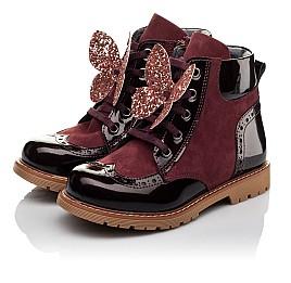 Детские демисезонные ботинки Woopy Orthopedic бордовые для девочек натуральный нубук, лаковая кожа размер 26-36 (3840) Фото 3