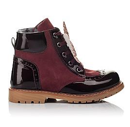 Детские демисезонные ботинки Woopy Orthopedic бордовые для девочек натуральный нубук, лаковая кожа размер 26-36 (3840) Фото 4