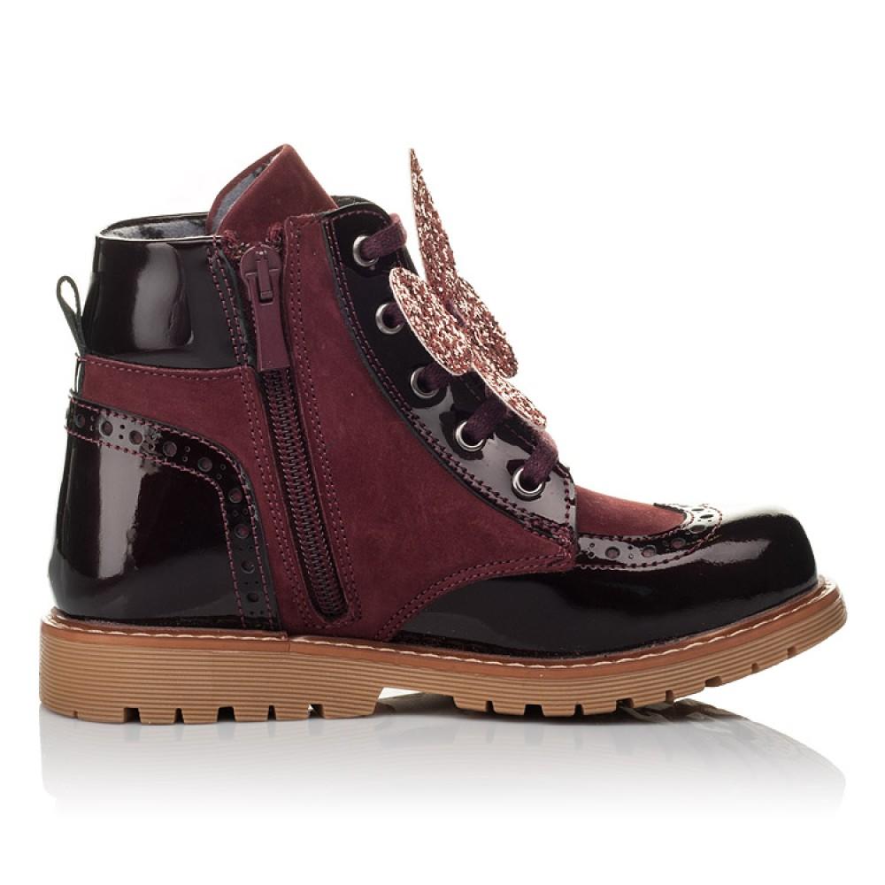 Детские демисезонные ботинки Woopy Orthopedic бордовые для девочек натуральный нубук, лаковая кожа размер 26-36 (3840) Фото 5