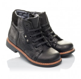 Детские демисезонные ботинки Woopy Orthopedic черные для мальчиков  натуральная кожа размер 23-30 (3841) Фото 1