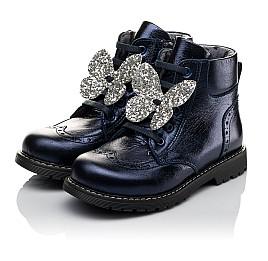 Детские демисезонные ботинки Woopy Orthopedic синие для девочек  натуральная кожа размер 26-36 (3844) Фото 3