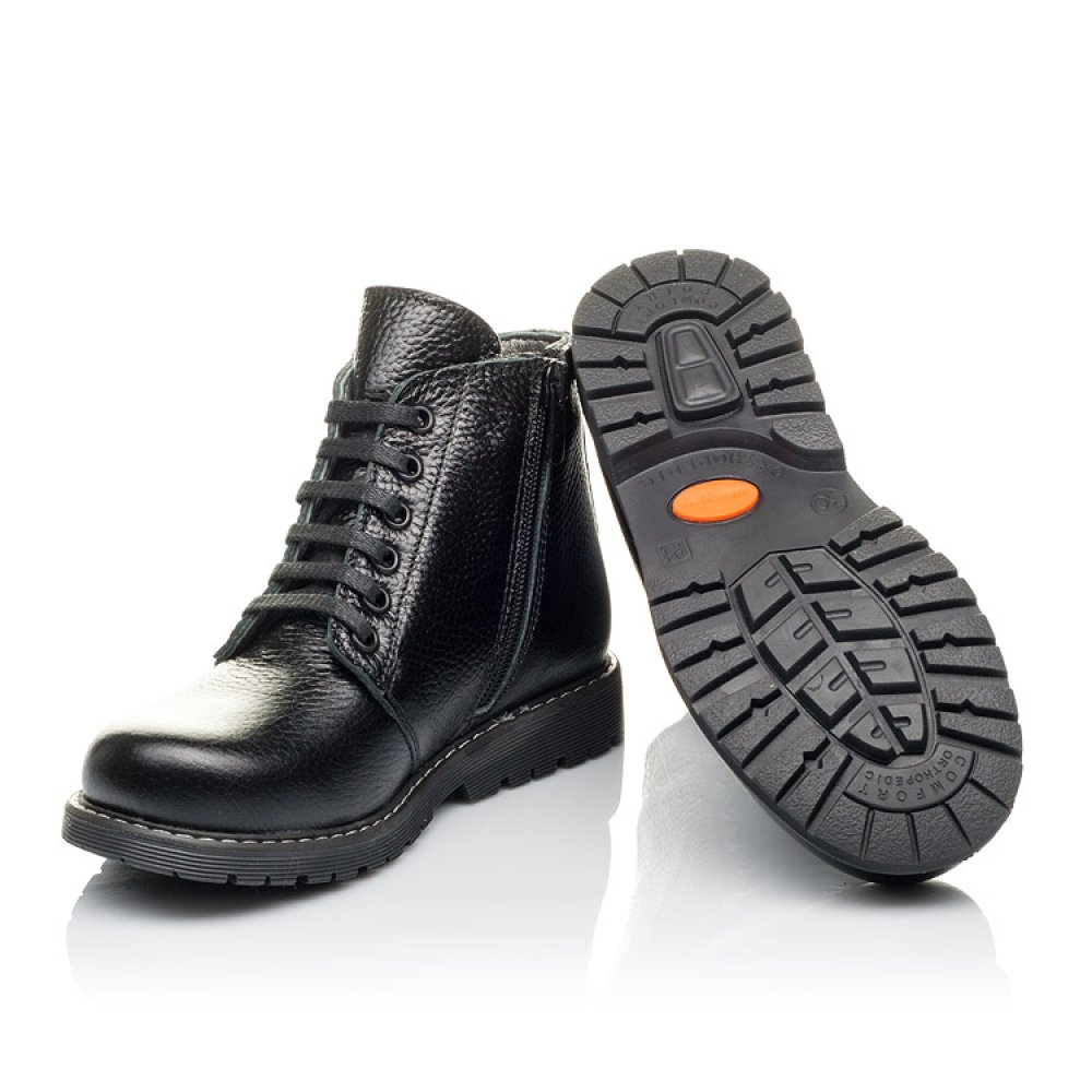Детские демисезонные ботинки Woopy Orthopedic черные для мальчиков натуральная кожа размер 30-38 (3849) Фото 2