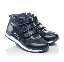Детские демисезонные ботинки Woopy Orthopedic синие для мальчиков  натуральная кожа и нубук размер 27-33 (3850) Фото 1
