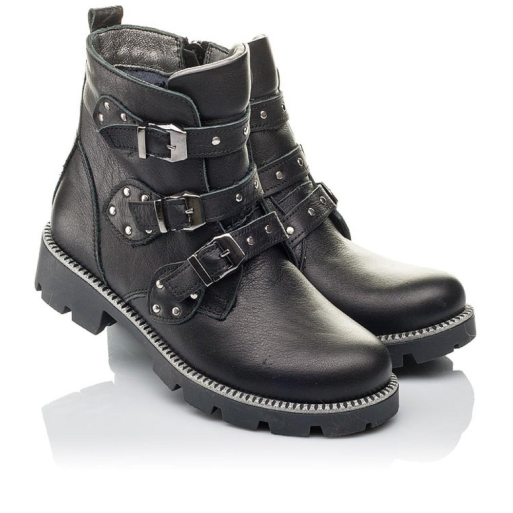 Детские демисезонные ботинки Woopy Orthopedic черные для девочек натуральная кожа размер 31-39 (3852) Фото 1