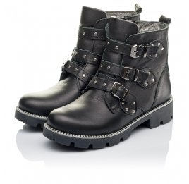 Детские демисезонные ботинки Woopy Orthopedic черные для девочек натуральная кожа размер 33-39 (3852) Фото 3