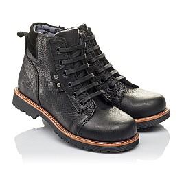 Детские демисезонные ботинки Woopy Orthopedic черные для мальчиков  натуральная кожа размер 31-34 (3853) Фото 1