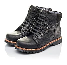 Детские демисезонные ботинки Woopy Orthopedic черные для мальчиков  натуральная кожа размер 31-34 (3853) Фото 3
