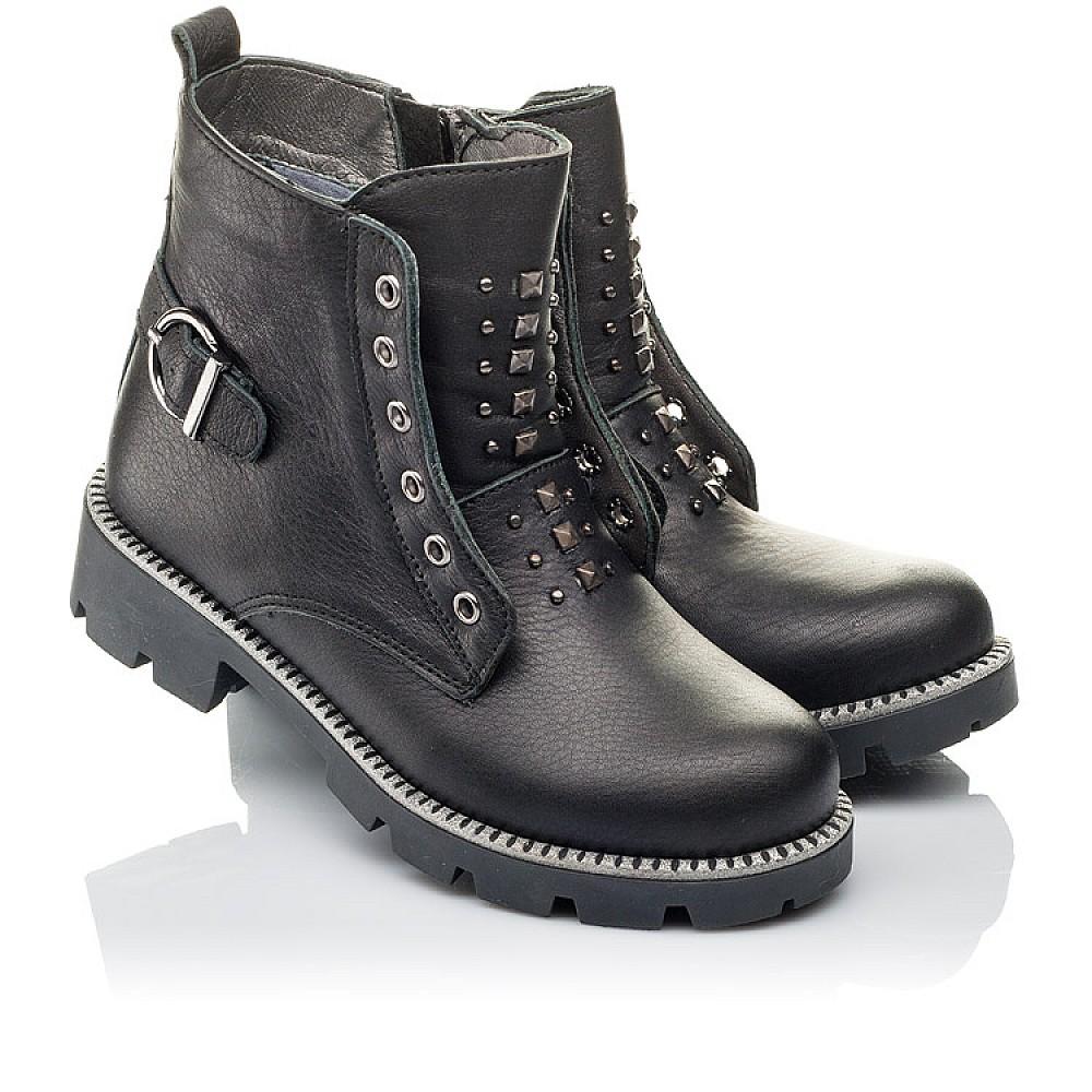 Детские демисезонные ботинки Woopy Orthopedic черные для девочек натуральная кожа размер 31-39 (3855) Фото 1